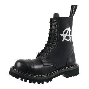 boty kožené unisex - 10 dírkové - STEADY´S - STE/10/H_Anarchy white