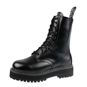 boty kožené GRINDERS 10dírkové černá 36