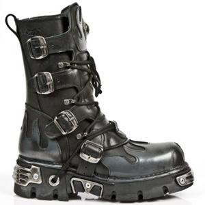boty kožené NEW ROCK Flame Boots (591-S2) Black-Grey černá šedá 38
