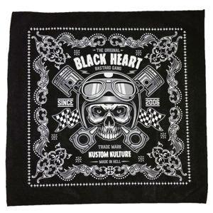 šátek BLACK HEART - PISTON SKULL - BLACK - 027-0001-BLK