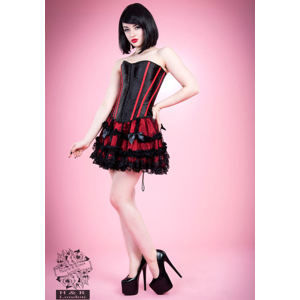 korzet dámský HEARTS AND ROSES - Black Red Bone - 3109b L