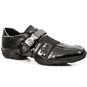 boty kožené NEW ROCK CHAROL STUCO ACERO černá 44