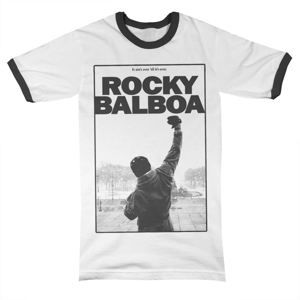 tričko pánské Rocky Balboa - It Ain´t Over Ringer - White/Black - HYBRIS - MGM-51-ROCK013-H6-12-WB