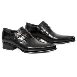 boty kožené NEW ROCK ANTIK NEGRO černá 45