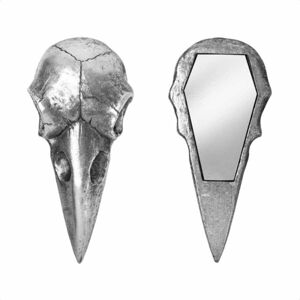dekorace (zrcátko) ALCHEMY GOTHIC - Raven Skull - Silver - V99S