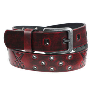 opasek s kovem Leather & Steel Fashion red