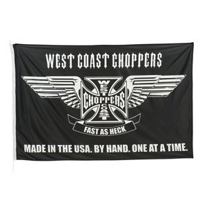 vlajka WEST COAST CHOPPERS - CROSS STATEMENT - BLACK - WCCFL001ZW