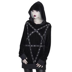 mikina s kapucí KILLSTAR Wicca Velvet černá XXL